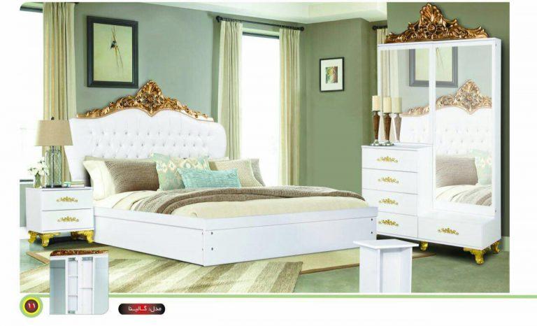 سرویس خواب مدل گالینا تاج چوب میز آرایش ملامینه